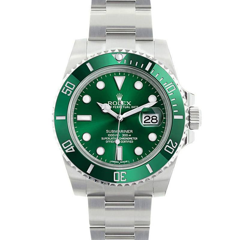 "Green Submariner Rolex Watch ""The Hulk"""