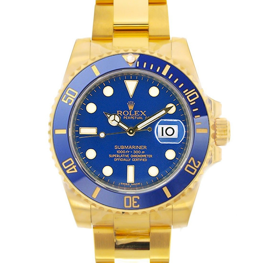 Gold Rolex Submariner Blue Dial and Bezel