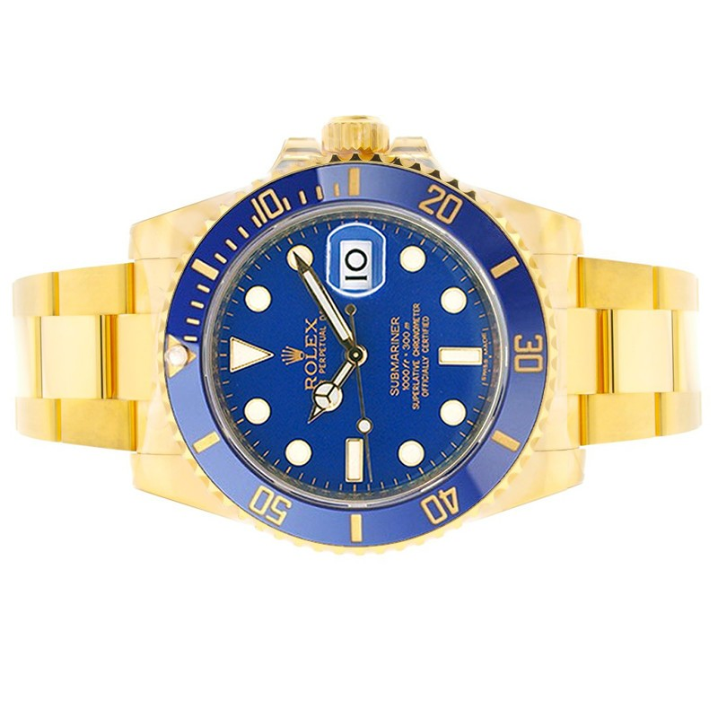Gold Rolex Submariner Blue Dial and Bezel Side